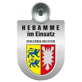 Einsatzschild Windschutzscheibe incl. Saugnapf -Hebamme im Einsatz - 309357-12 - Region Schleswig-Holstein