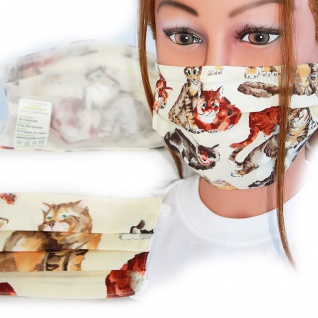 Textil Design-Maske waschbar aus Baumwolle mit Innenvlies - Katzen beige + Zugabe - 15487