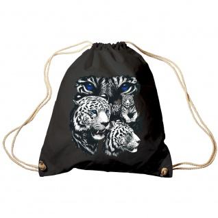 Sporttasche Turnbeutel Trend-Bag Print Weisse Tiger Raubtiere - TB10203 schwarz