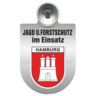Einsatzschild für Windschutzscheibe incl. Saugnapf - Jagd + Forstschutz im Einsatz - 309729-15 Region Hamburg
