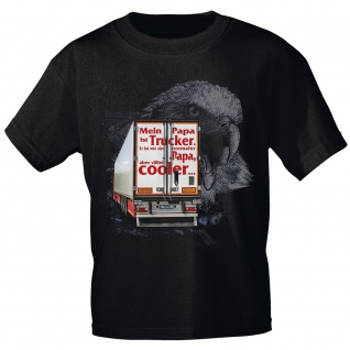 Kinder T-Shirt mit Print - Mein Papa ist Trucker...cooler - 12262 anthrazitgrau Gr. 122/128