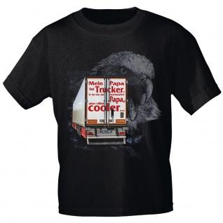 Kinder T-Shirt mit Print - Mein Papa ist Trucker...cooler - 12262 anthrazitgrau Gr. 134/146