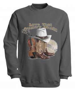 Sweatshirt mit Print - Country Music - S10256 - versch. farben zur Wahl - Gr. grau / S