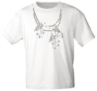 (12852) T- Shirt mit Glitzersteinen Gr. S - XXL in 13 Farben weiß / M