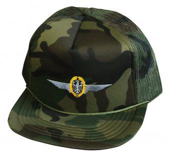 Militarycap Camouflage - Cap mit Stick - Flieger Abzeichen Luftwaffe - 69205 grün - Baumwollcap Baseballcap Hut Cappy Schirmmütze