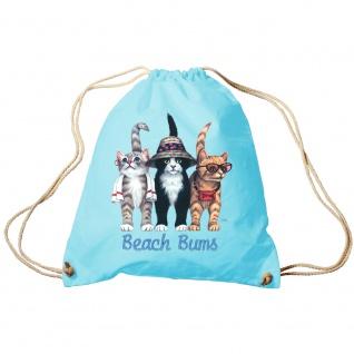 Sporttasche Turnbeutel Trend-Bag Print Cat Katze Strandkatzen Beach Bums - KA060/2 hellblau