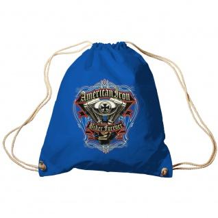 Sporttasche Turnbeutel Trend-Bag Print American Iron Biker Forever TB15701 Royal