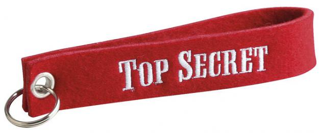 Filz-Schlüsselanhänger mit Stick Top Secret Gr. ca. 17x3cm 14056 rot