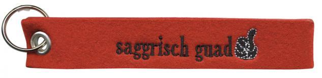 Filz-Schlüsselanhänger mit Stick saggrisch guad Gr. ca. 19x3cm 14016 rot