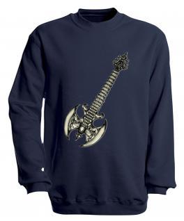 Sweatshirt mit Print - Guitar - S10252 - versch. farben zur Wahl - Gr. Navy / L