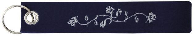 Filz-Schlüsselanhänger mit Stick Blumenranke Gr. ca. 17x3cm 14187 schwarz