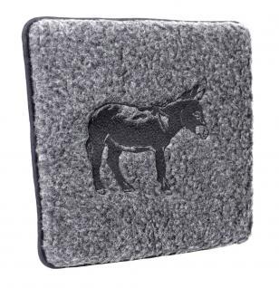 Schurwoll Sitzkissen mit Einstickung - Esel - 30019 - Dekor Kissen
