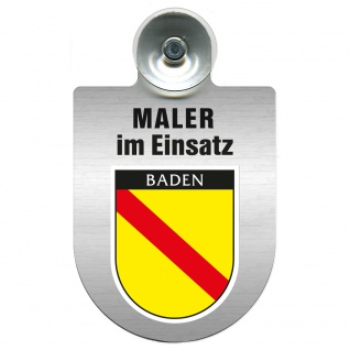 Einsatzschild Windschutzscheibe incl. Saugnapf - Maler im Einsatz - 309465 - Region Baden