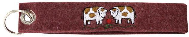 Filz-Schlüsselanhänger mit Stick Kühe Gr. ca. 17x3cm 14169 braun
