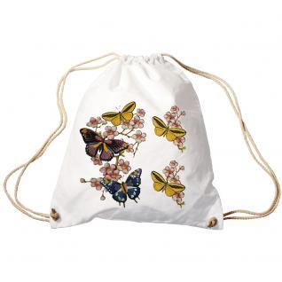 Trend-Bag Turnbeutel Sporttasche Rucksack mit Print -Schmetterlinge - TB65322 weiß