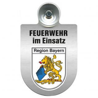 Einsatzschild Windschutzscheibe incl. Saugnapf - Feuerwehr im Einsatz - 309355 - Region Bayern