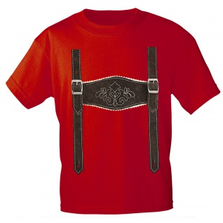 Kinder T-Shirt mit Print - Lederhose Hosenträger - 08632 Gr. 68-164 rot / 110/116