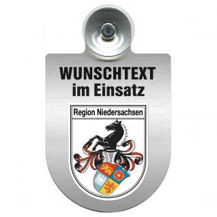 Einsatzschild für Windschutzscheibe incl. Saugnapf - Wunschtext...Eigener Text - Wappen nach Wahl - 309470 Region Niedersachsen