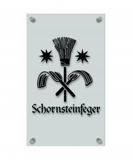 Zunft- Schild, Handwerker-Zeichen, edle Acryl-Kunststoff-Platte mit Beschriftung - Schornsteinfeger - in gold, silber, schwarz oder weiß - 309420 Farbe schwarz