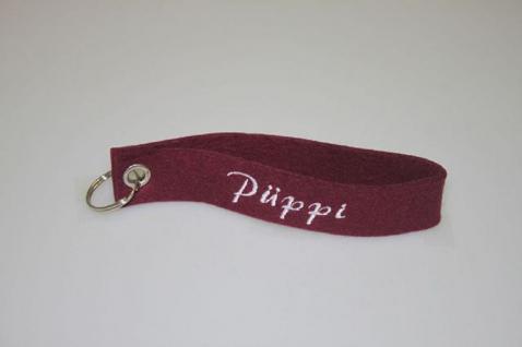 Filz-Schlüsselanhänger mit Stick Püppi Gr. ca. 17x3cm 14403 bordeaux