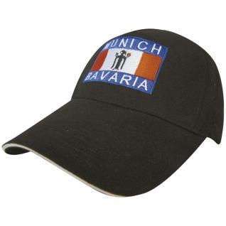 BaseballCap mit Rot-Blau-Weissem Stick - Munich Bavaria - 68833 schwarz - Baumwollcap Schirmmütze Cappy Kappe Cap