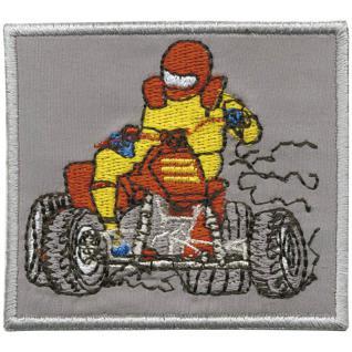 Aufnäher - Quadfahrer rot-gelb - 88636 - Gr. ca. 8 x 11 cm - Patches Stick Applikation