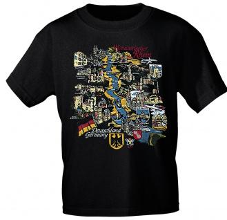 T-Shirt mit Print - Romantischer Rhein Deutschland - 09880 schwarz - Gr. S-XXL