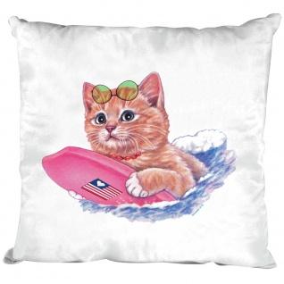 Kissen mit Fuellung 40 cm mit Print Katzen Motiv Lazy Days KA050 weiß Deko