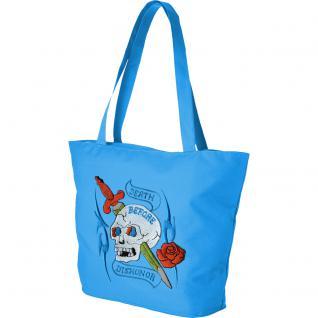 Modische Lifestyle- Tasche mit Motiv- Stickerei - Tattoo Skull - 08965 - Shopper Ticiana Montabri