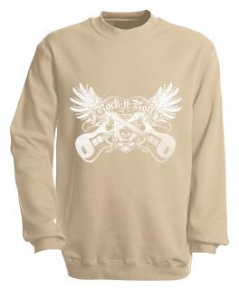 Sweatshirt - Rock´n Roll - S10248 - versch. farben zur Wahl - Gr. S-XXL beige / L