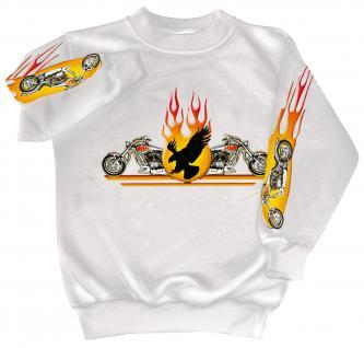 Sweatshirt mit Print - Chopper Flammen Eagle - 10117 - versch. farben zur Wahl - weiß / S