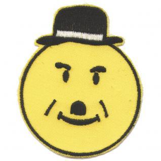 AUFNÄHER - Smiley mit Hut - 00803 - Gr. ca. 8 x 7, 5 cm - Patches Stick Applikation