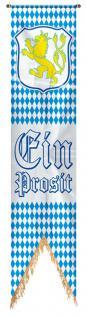 Banner aus Polyester-Flaggenstoff - Ein Prosit blau-weiß Rauten Bayern Löwe - Gr. ca. 40x180 cm - 07753