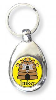 Metall- Schlüsselanhänger mit Einkaufswagen-Chip - Imker - Größe ca. 3 x 7 cm - 13454 - Keyholder Anhänger mit Print