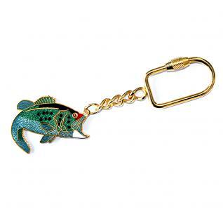 Metall- Schlüsselanhänger mit brillantem Motiv - Fisch - Gr. ca. 4x3cm - 02354