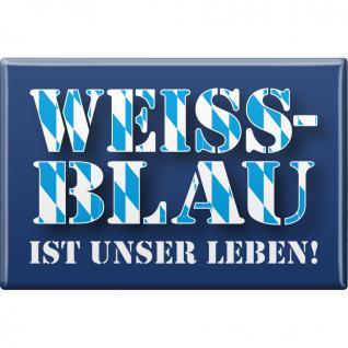 Küchenmagnet - WEISS-BLAU IST UNSER LEBEN - Gr. ca. 8 x 5, 5 cm - 38224 - Magnet