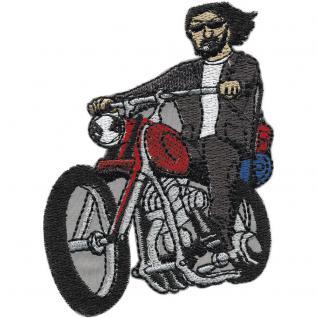 AUFNÄHER - Motorradfahrer - 01944 - Gr. ca. 10 x 7cm - Patches Stick Applikation