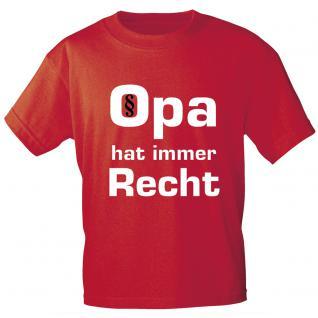 T- Shirt - Opa hat immer Recht - Markenware in zwei Farben - 09734 - rot / XL