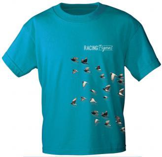 Marken T-SHIRT, in 2 Farben, Unisex, mit Aufdruck ? Racing Pigeons ? NEU Gr. S-XXL TB152 blau / XL