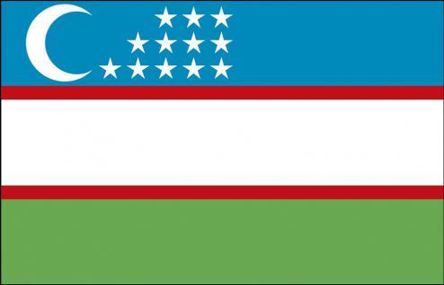 Länder-Fahne - Usbekistan - Gr. ca. 40x30cm - 77181 - Flagge, Dekofahne, Stockländerfahne