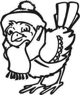 Wandtattoo Dekorfolie Weihnachten Vogel WD0817 - schwarz / 120cm