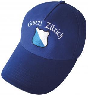 Schirm-Cap mit Stick - Gruezi Zürich Wappen - 68952 navy - Baumwollcap Baseballcap Hut Schirmmütze Cappy