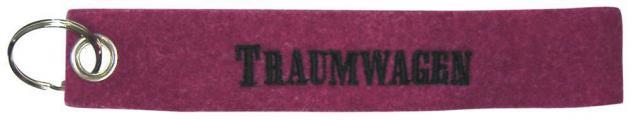Filz-Schlüsselanhänger mit Stick TRAUMWAGEN Gr. ca. 17x3cm 14105 Keyholder himbeer rot