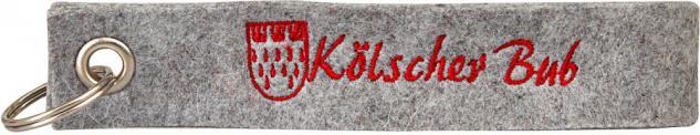 """(14434) Filz-Schlüsselanhänger mit Stick """" Kölscher Bub """" Gr. ca. 17x3cm grau"""