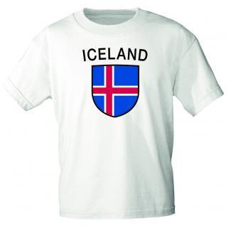 Kinder T- Shirt mit Laenderwappen Island Gr. 98-164 76023 weiß / 122/128