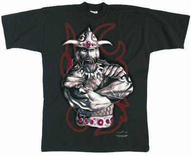 T-Shirt unisex mit Print - WIKINGER-MOTIV - Kollektion Milosch - 92001 schwarz - Gr. S