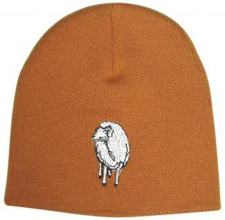 Beanie-Mütze mit Einstickung - Schaf - 54500 orange