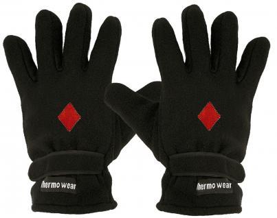 """(40385-56516) Fleece Handschuhe mit Einstickung """" KARO ROT"""""""
