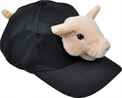 Baseballcap mit Plüschtierkopf - Schweinchen - 69987 schwarz