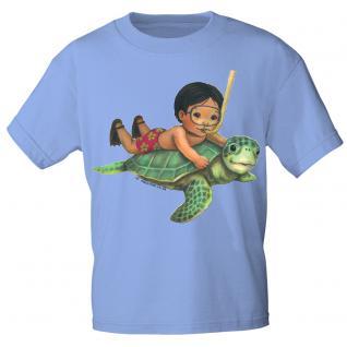 Kinder Marken-T-Shirt mit Motivdruck Schildkröte K12777 hellblau / 122/128